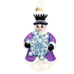 Christopher Radko Flakey Frosty Glass Christmas Ornament