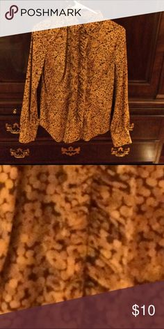 New York and Company Cotton shirt Gold and brown polka dotted short with front ruffle. Euc New York & Company Tops Blouses