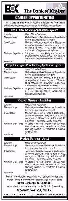 The Bank Of Khyber BOK Jobs 2017 For Project And Product Managers http://www.jobsfanda.com/the-bank-of-khyber-bok-jobs-2017-for-project-and-product-managers/