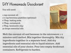 DIY Homemade Deodorant recipe card - simplified version of the recipe text in an image. Source by na Homemade Natural Deodorant, Homemade Skin Care, Homemade Beauty Products, Diy Skin Care, Natural Products, Homemade Toothpaste, Homemade Scrub, Homemade Moisturizer, Homemade Recipe