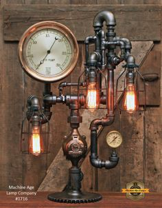 Steampunk Lamp Industrial Machine Age Steam Gauge Light Gear Boiler in Collectibles, Lamps, Lighting, Lamps: Electric, Table Lamps Vintage Industrial Decor, Industrial Living, Industrial Shop, Industrial Windows, Industrial Bedroom, Industrial Bookshelf, Kitchen Industrial, Industrial Machine, Industrial Apartment