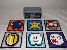 Nintendo Super Mario Set Coasters perler beads by melanieballestrazze