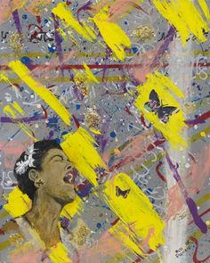 Lady Sings the Blues by Bill Flowers. Acrylic painting. Bill paints at Common Art, a program in Boston which provides space, art materials, and support staff to homeless and low-income individuals. He uses painting as a de-stressor. Learn more about Bill and his work at http://www.artlifting.com/gallery/bill-flowers #ArtLifting #inspirational