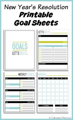 Free Printable New Year's Resolution Worksheets - Write it down -Make it Happen! Set your goals for the new year. Put these in your Home Management Binder or Personal Planner