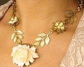 Vintage Cream Rose Bridal Necklace Gold Bridal by luxedeluxe, Leaf Necklace, Bridal Necklace, Flower Necklace, Bridal Jewelry, Gold Necklace, Shabby Chic Signs, Vintage Save The Dates, Vintage Wedding Jewelry, Cream Roses
