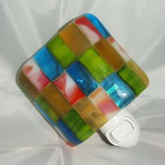 Simple color blocks - sophisticated and fun. Fused Glass Night Light