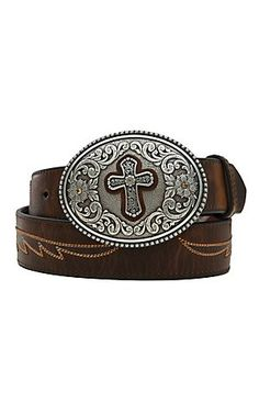Ariat® Brown with Cross Concho & Embroidered Wings Cross Buckle Women's Belt A1512202 | Cavender's