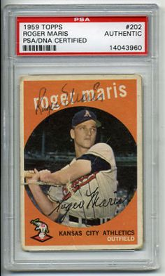 Roger-Maris-Signed-1959-Topps-202-Card-Autographed-PSADNA-14043960-Kansas-City #rogermaris #maris #signedcard #autograph #1959 #topps