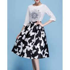 Butterflies Print Knee-length Skirts With Pleat K0284