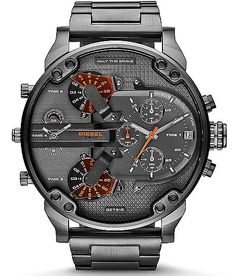 Diesel Mr. Daddy Watch - Men's Watches | Buckle LOVE THE NAME Diesel Watches For Men, Black Leather Watch, Mens Designer Watches, Amazing Watches, Luxury Watches, Chronograph, Quartz Watch, Fashion Watches, Daddy