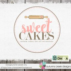 cake logo - bakery logo - premade logo -cake decorator- rolling pin - shop logo -party logo - premade logo design - logo for bakers logos