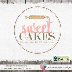 cake logo - bakery logo - premade logo -cake decorator- rolling pin - shop logo…