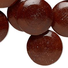 Cabochon, stained vintage Japanese wood, dark brown, 25.5mm non-calibrated round. Sold per pkg of 12.