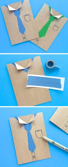Washi Tape Neck Tie Card | Click Pic for 18 DIY Fathers Day Crafts for Kids to Make | Homemade Fathers Day Crafts for Toddlers to Make