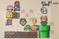 Perler bead sprites by Pixel Geex of a simpler time, an SNES time in Super Mario Bros (with a random Boo) http://www.pixelgeex.com/super-mario-bros/