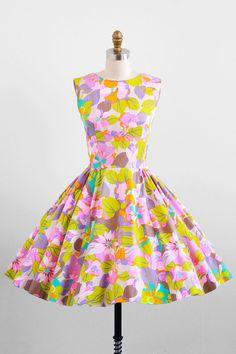 vintage 1960s florescent floral day dress.