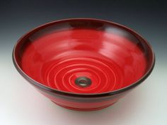 Ceramic Vessel Sinks-Classic Handcrafted Porcelain Clay Vessel Sink - Red