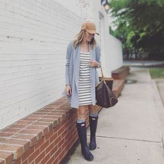 Nothing like Spring time in Oklahoma...78 warm & balmy one day  to 58 chilly & rainy  the next! But I'm ready for you and your moodiness Mother Nature  P.S. This striped tee dress is under $13 at @hm STEAL!