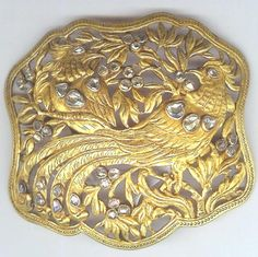 22 K gold buckle with large diamones, Nonya, Maylasia Indonesia 19th c