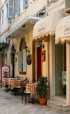 Street Cafes, Corfu Island, Greece