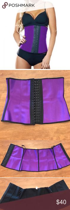 Waist Trainer EUC waist shaperz purple steel boned trainer. Used only a handful of times, just too big for me now. It has been sitting in my drawer for months now. No rips, tears, stains, only slight pulling on the inside. But I noticed when inspecting that two of the closures are loose, but are still intact. Make me an offer I can work with. **SEE IMAGES FOR SIZING** From a  friendly home. waist shaperz Intimates & Sleepwear Shapewear