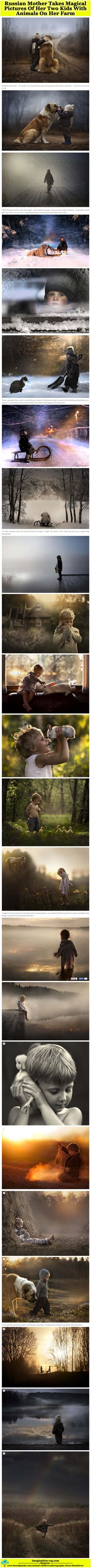 Russian Mother Takes Magical Pictures Of Her Two Kids With Animals On Her Farm