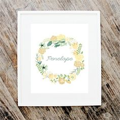 Floral Wreath Personalized Art Print