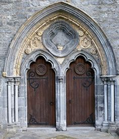The west door of Saint Canice's Cathedral Kilkenny Ireland.