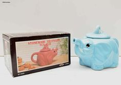 Vintage Boxed Light Blue Hand Painted Stoneware Collectable Novelty Elephant Tea Pot. Made in 1988 Taiwan R.O.C. by LittlemixAntique on Etsy
