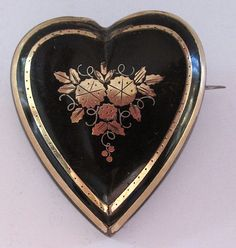 Victorian Heart Shaped Pique Tortoiseshell Brooch Inlaid Gold