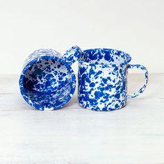 Enamelware Mug D11DBM Blue Marble White/Blue Splatter  | Crow Canyon Home