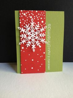 Falling snow created with embossing paste and a plastic stencil. Easy technique to add both glitter and dimension to your handmade Christmas card. Glitter was also applied to the die cut snowflake, used on olive and poppy colored paper. Christmas Paper Crafts, Diy Christmas Cards, Noel Christmas, Xmas Cards, Holiday Cards, Handmade Christmas, Snowflake Cards, Snowflakes, Winter Karten
