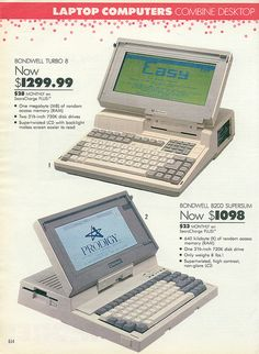 """One whole megabyte of RAM! 1989 """"Laptop"""" computers. I could only afford the cheap one at the bottom. I bought it 1999 for $120."""