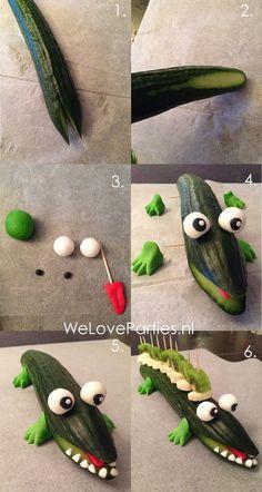 gezonde traktatie, komkommer krokodil, healthy treat, cucumber crocodile, fruit traktatie zelf maken, kindertraktatie gezond