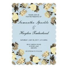 Baby Blue and Vintage Floral Wedding Card - blue gifts style giftidea diy cyo