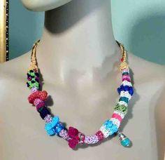 STYLISH FEMININE NECKLACE  Wearable Fiber Art Jewelry by julianata, $48.00