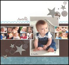 """#papercraft #scrapbook #layout  Precious Baby """"Sweetie"""" Scrapping Page...with multiple photo layouts & stars.  By pescaragirl - twopeasinabucket.com."""