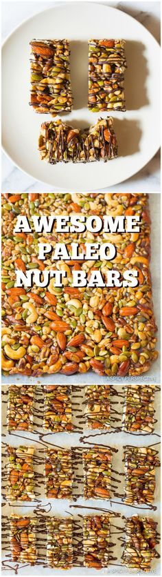 Crazy Over These Kid-Friendly Paleo Nut Bar Recipe with Chocolate Drizzle on ASp. - Crazy Over These Kid-Friendly Paleo Nut Bar Recipe with Chocolate Drizzle on ASpicyPerspective… # - Weight Watcher Desserts, Paleo Nuts, Paleo Vegan, Paleo Food, Paleo Sweets, Paleo Dessert, Dessert Bars, Paleo Recipes, Whole Food Recipes
