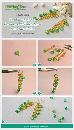 to Make Fresh Tassel Dangle Earrings with Crackle Glass Beads and Chains from LC.How to Make Fresh Tassel Dangle Earrings with Crackle Glass Beads and Chains from LC. Pinterest Jewelry, Wie Macht Man, Bead Jewellery, Jewellery Making, Boho Jewelry, Jewelry Rings, Earring Tutorial, Beaded Jewelry Patterns, Homemade Jewelry