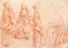 Jean-Antoine Watteau (1684–1721), Four Studies of Women, Alternately Standing and Seated, ca. 1710. Red chalk, 5 1/4 x 8 in. (13.4 x 20.3). Indianapolis Museum of Art; The Clowes Collection.
