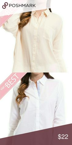 BUY ONE GET ONE FREE Get more for your money, button down shirt, amazing quality,  neutral colors, buy one take the second one for free. PRICE IS FIRM,  if you only want one theybare listed in my closet separately. Tops Button Down Shirts