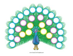 This printable, five-generation family tree is colorfully illustrated on peacock feathers. Free to download and print