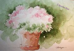 Pink Flowers in Terra Cotta Flower Pot Print of Watercolor Painting