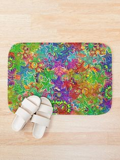 Colorful Abstract Stars Bath Mat Custom Shower Curtains, Mask For Kids, Iphone Wallet, Rainbow Colors, Bath Mat, Pattern Design, Colorful, Stars, Abstract