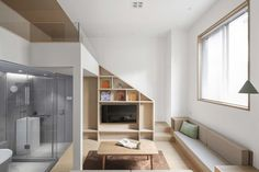 Gallery of Micro Living in China: Tiny Houses as an Innovative Design Solution - 9 Mezzanine Bedroom, Living In China, Hotel Apartment, Apartments, Through The Window, Bathroom Colors, Innovation Design, Ground Floor, Creative Design