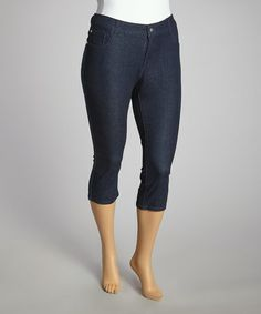 Another great find on #zulily! Dark Blue Capri Jeans - Plus by Western Trading Company #zulilyfinds