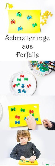 Malen im Frühling mit Kindern - Schmetterlinge aus Nudeln basteln #basteln #bastelnmitkindern #malen #malenmitkindern #kinder #kindergarten