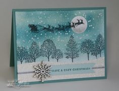 Lovely Cozy Christmas Old stamps meet new and some sparkle adds a magical touch to this peaceful, monochromatic winter scene.is of course Lovely. Chrismas Cards, Christmas Cards 2017, Stamped Christmas Cards, Homemade Christmas Cards, Xmas Cards, Holiday Cards, Cozy Christmas, Handmade Christmas, Primitive Christmas