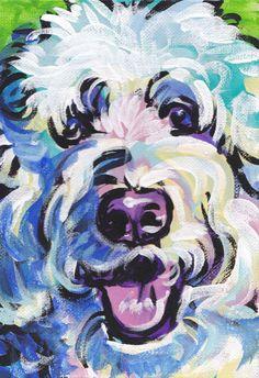 Golden Doodle art print pop dog art bright colors by BentNotBroken, $22.99