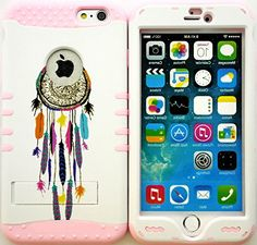 "myLife Stylish Design and Layered Protection Case for iPhone 6 Plus (5.5"" Inch) by Apple {Pale Pink ""Colorful Dream Catcher Finish with Kickstand"" Three Piece SECURE-Fit Rubberized Gel} myLife Brand Products http://www.amazon.com/dp/B00PV5A73Y/ref=cm_sw_r_pi_dp_3G2Cub1191GAG"